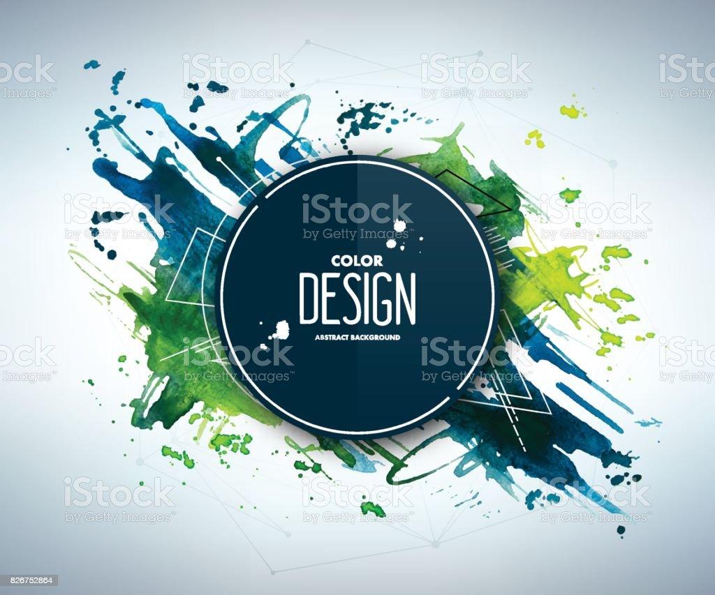 Azul-verde fondo Acuarela abstracta con patrón geométrico y lugar para el texto. - ilustración de arte vectorial