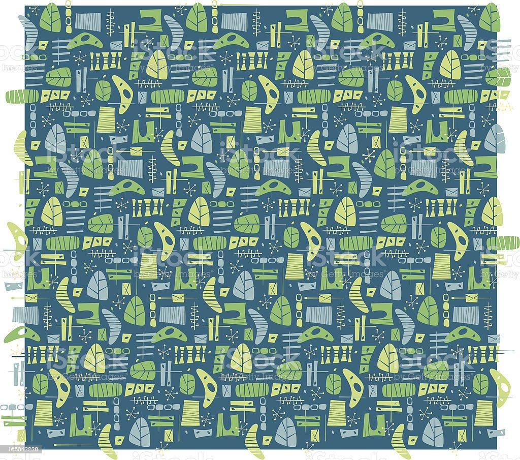 Blue-Green Boomerang Pattern vector art illustration