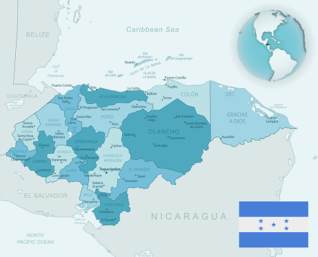 Blue-green detailed map of Honduras administrative divisions with country flag and location on the globe.