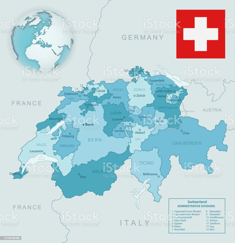Picture of: Bluegreen Detailed Map Of Switzerland And Administrative Divisions With Country Flag And Location On The Globe Stock Illustration Download Image Now Istock