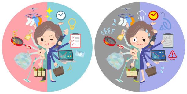 ilustrações de stock, clip art, desenhos animados e ícones de blue-green tunic middle women_mulch task switch - fail cooking