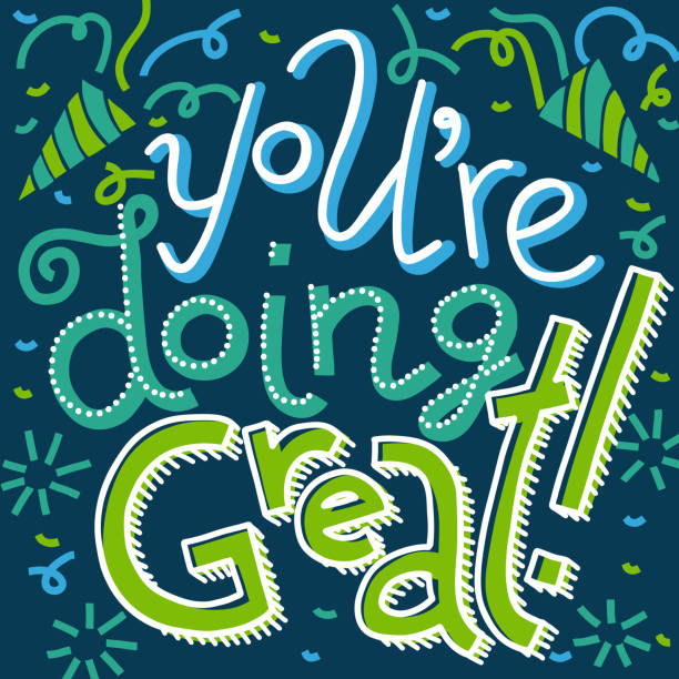 Blue-green You're Doing Great lettering card Colorful vector hand-drawn lettering of words You're Doing Great. Greeting card encouragement sentiment. Clapping hands, firecrackers and confetti doodles. Blue and green colors on dark, offset effect you re awesome stock illustrations