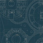 Blueprint on blue background. Engeneer and architectural drawing.