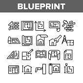 Blueprint Architecture Collection Icons Set Vector. House Project On Blueprint, Brick Wall With Construction Spatula, Hammer And Puncher Concept Linear Pictograms. Monochrome Contour Illustrations