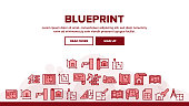 Blueprint Architecture Landing Web Page Header Banner Template Vector. House Project On Blueprint, Brick Wall With Construction Spatula, Hammer And Puncher Illustration