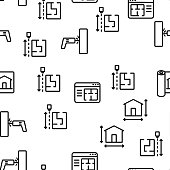 Blueprint Architecture Vector Seamless Pattern Thin Line Illustration
