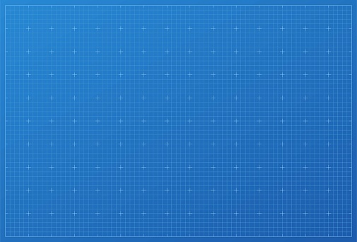 Blueprint background. Blue paper print with white grid pattern vector illustration. Drawing sheet for architecture or measure in engineering, technology or business. Modern graphic project.