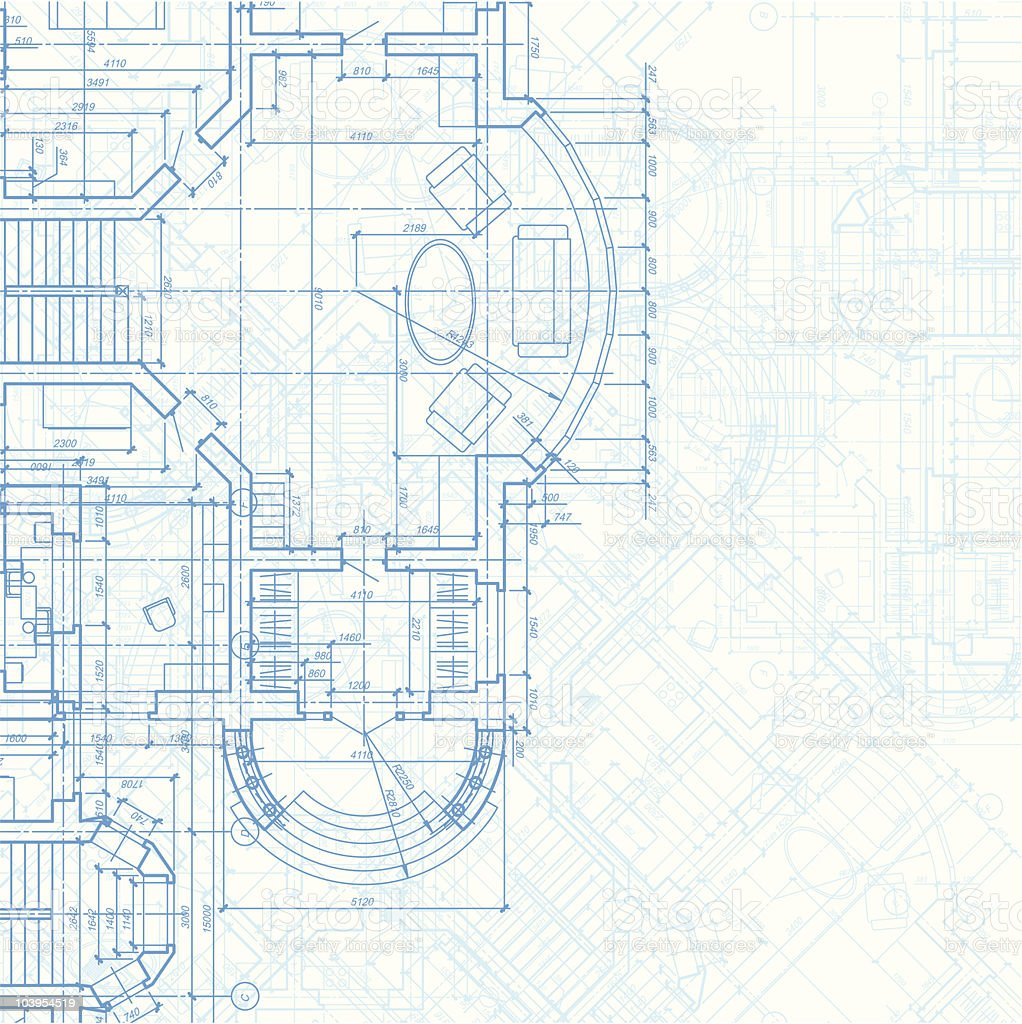 A blueprint background of an architectural plan vector art illustration