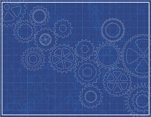 Blueprint background with white cogs and grid vector art illustration