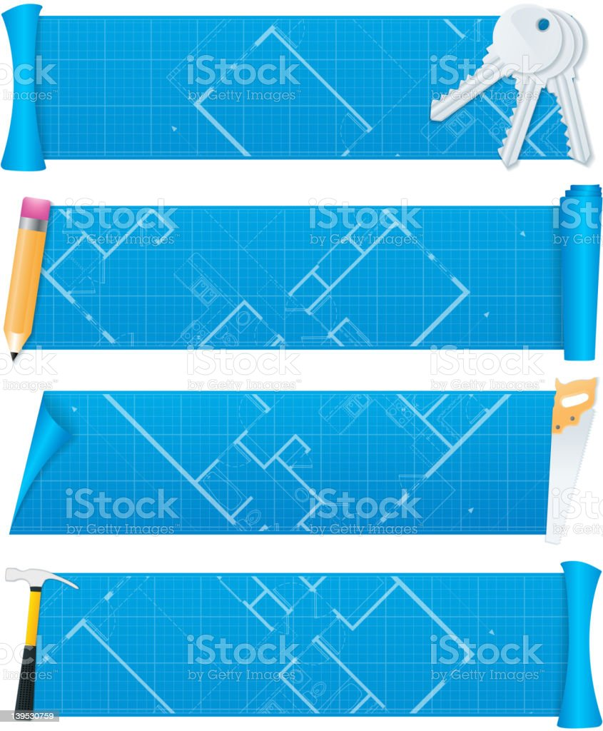 Blueprint banners royalty-free blueprint banners stock vector art & more images of architect
