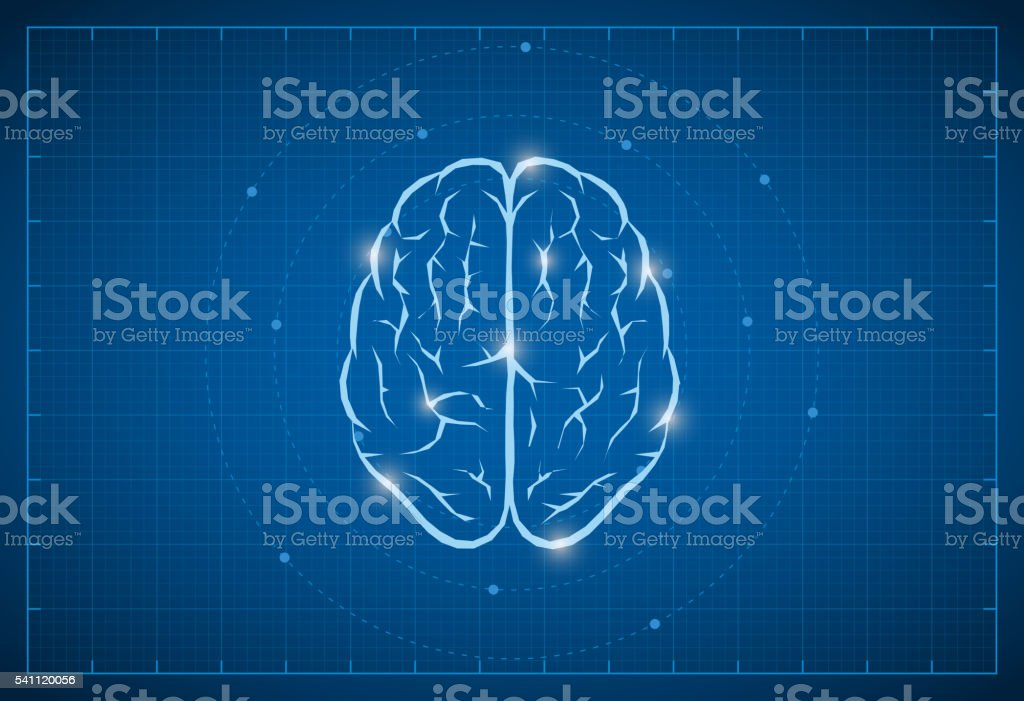 Blueprint Brain Symbol vector art illustration