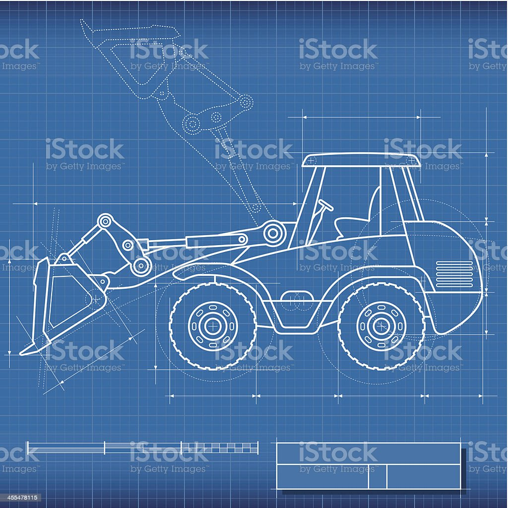 Blueprint bulldozer stock vector art more images of blue 455478115 blueprint bulldozer royalty free blueprint bulldozer stock vector art amp malvernweather Gallery