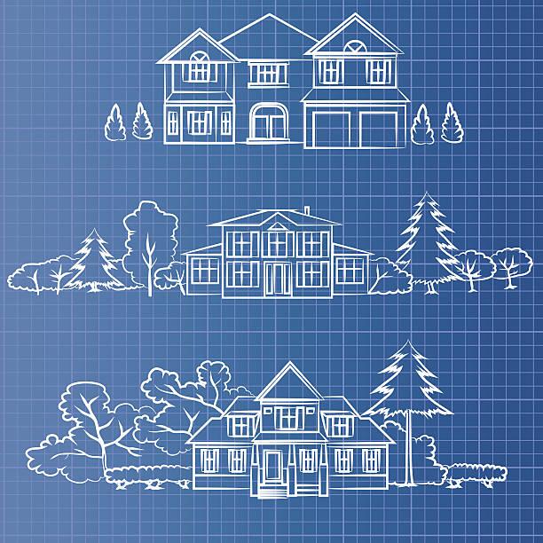 blueprint cottage - landhaus stock-grafiken, -clipart, -cartoons und -symbole