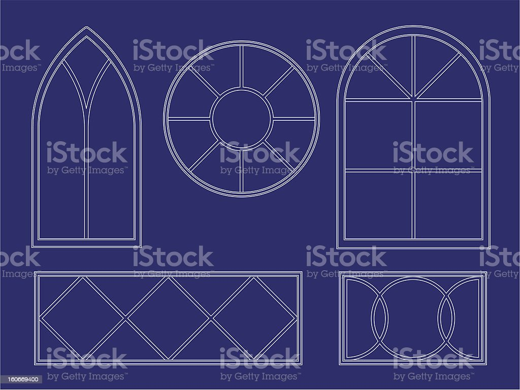 Blueprint decorative window illustrations vector art illustration