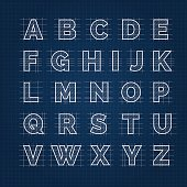 Blueprint drafting alphabet