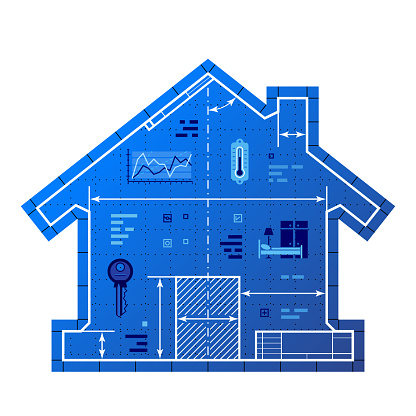 Blueprint drawing in shape of house symbol