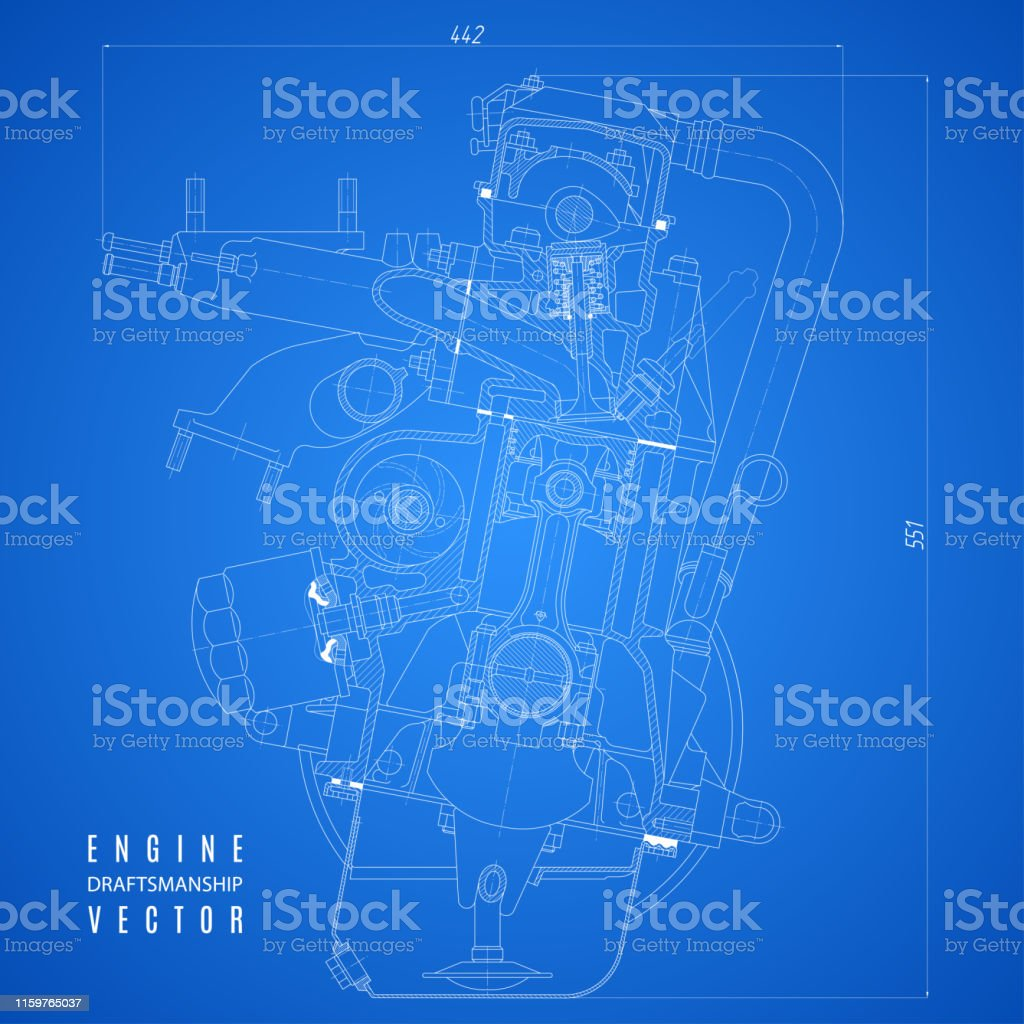 Blueprint Engine Project Technical Drawing On The Blue Background Stock  Illustration - Download Image Now - iStockiStock