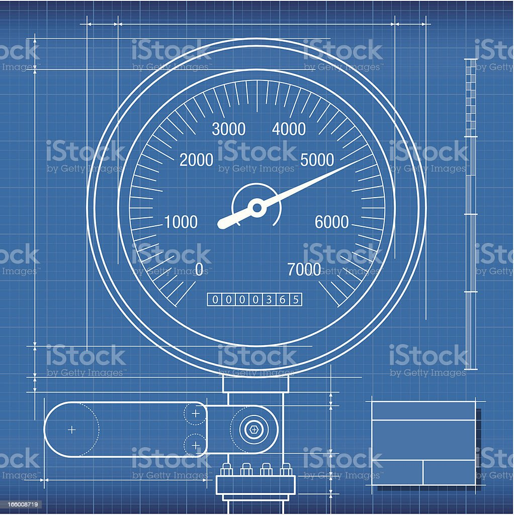 Blueprint, Gauge vector art illustration