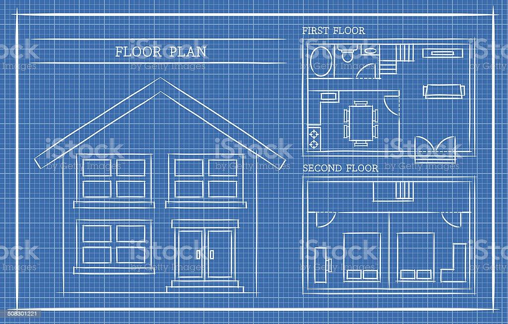 Blueprint, House Plan, Architecture vector art illustration