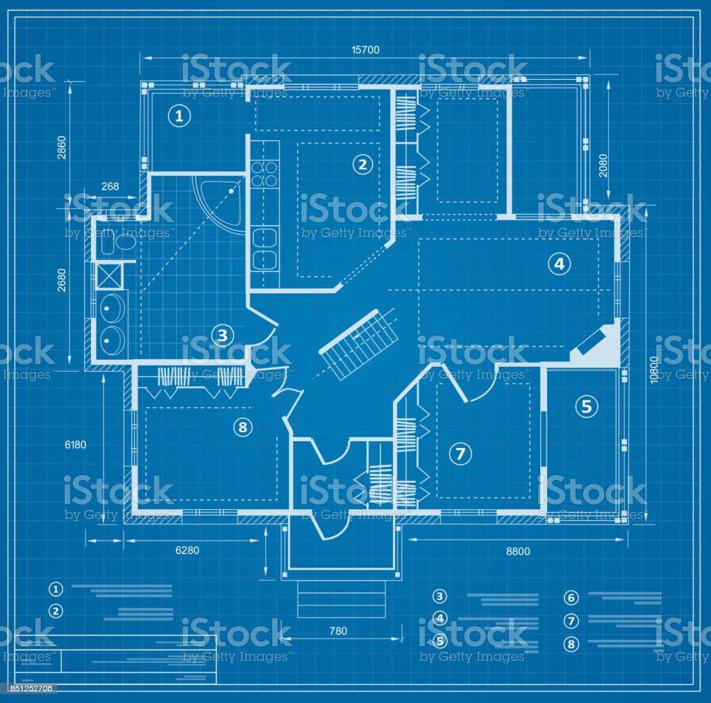 Blueprint house plan vector art illustration