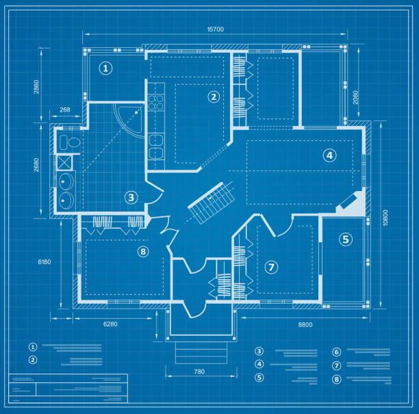 stockillustraties, clipart, cartoons en iconen met de plan van het huis van de blauwdruk - blauwdruk