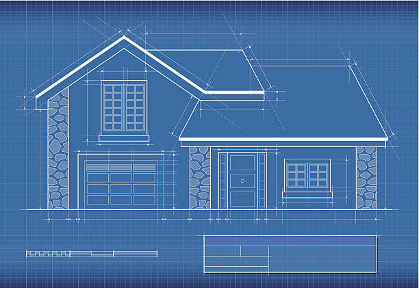 Royalty free house blueprint clip art vector images illustrations blueprint house vector art illustration malvernweather Images