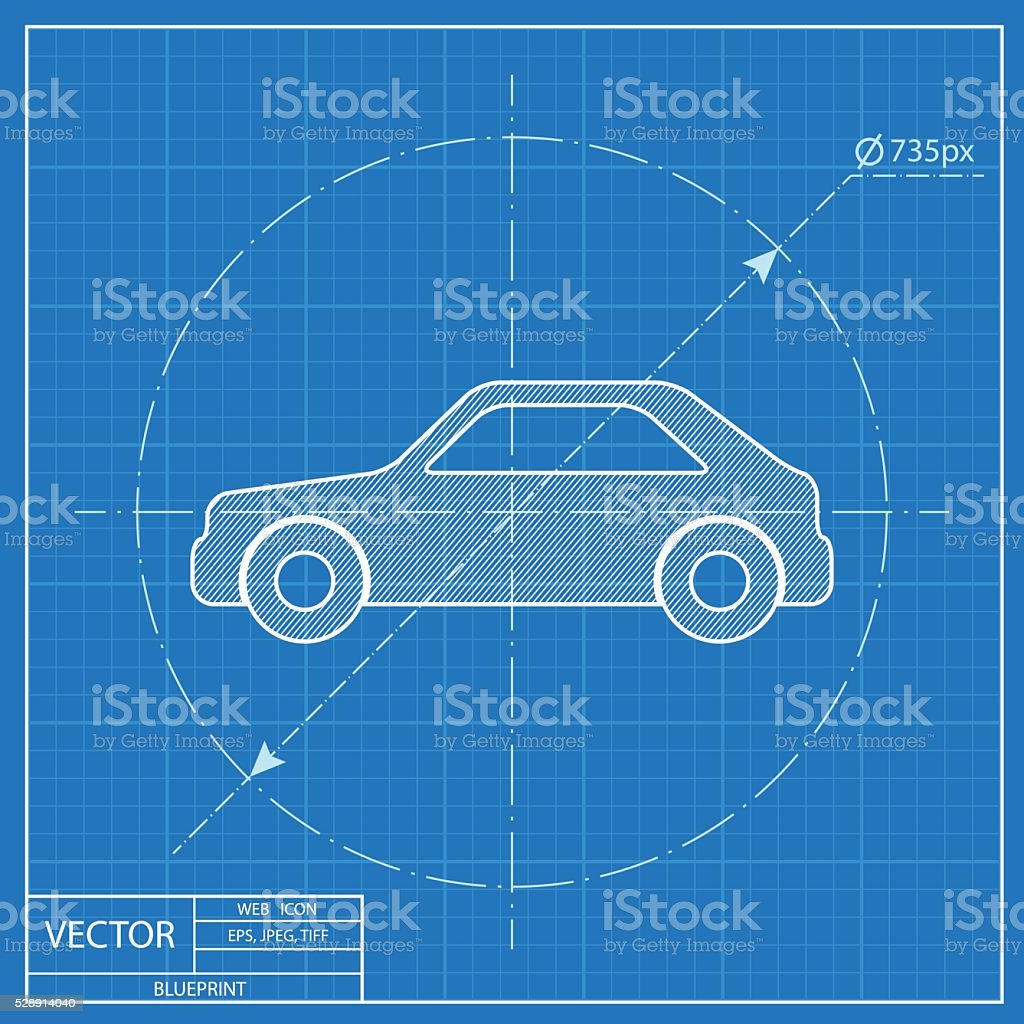 Blueprint icon of car stock vector art more images of blueprint blueprint icon of car royalty free blueprint icon of car stock vector art amp malvernweather Gallery