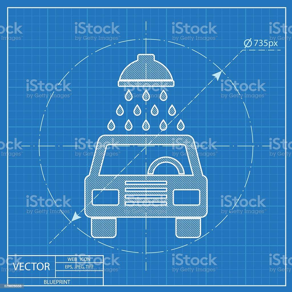 Blueprint icon of car wash stock vector art more images of badge blueprint icon of car wash royalty free blueprint icon of car wash stock vector art malvernweather Images