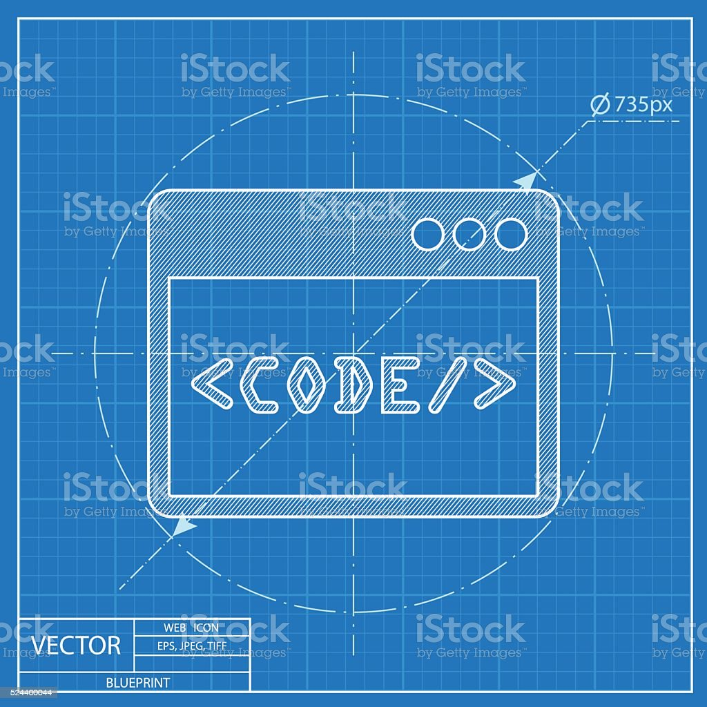 Blueprint icon of code window stock vector art more images of blueprint icon of code window royalty free blueprint icon of code window stock vector art malvernweather Images