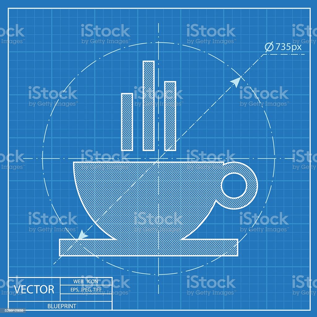 Blueprint icon of coffee cup stock vector art more images of blueprint icon of coffee cup royalty free blueprint icon of coffee cup stock vector art malvernweather