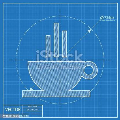 Blueprint icon of coffee cup stock vector art more images of blueprint icon of coffee cup stock vector art more images of blueprint 528912938 istock malvernweather Images