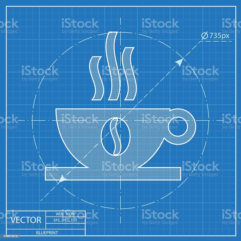 Blueprint icon of coffee cup stock vector art more images of blueprint icon of coffee cup royalty free blueprint icon of coffee cup stock vector art malvernweather Image collections