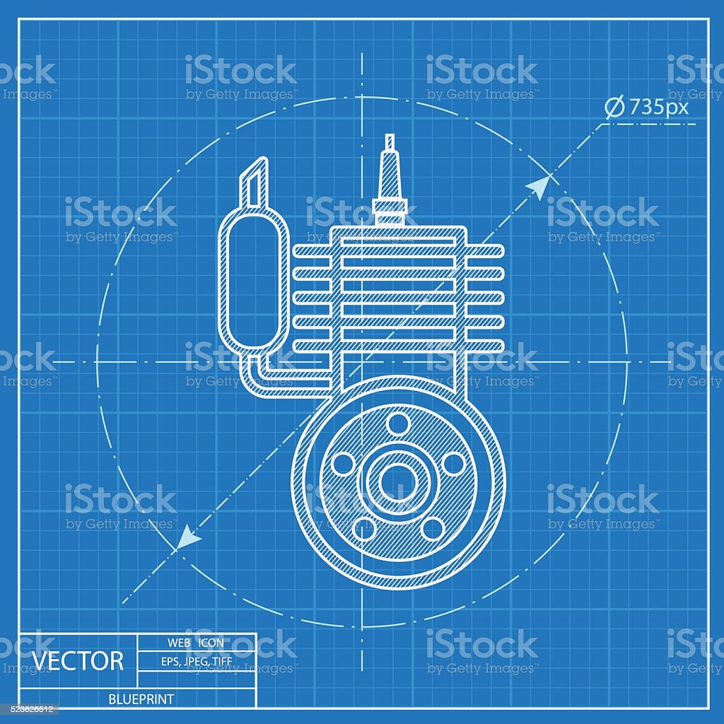 Blueprint Icon Of Engine Stock Vector Art 523626512 Istock Diagram Motorcycle Royalty Free