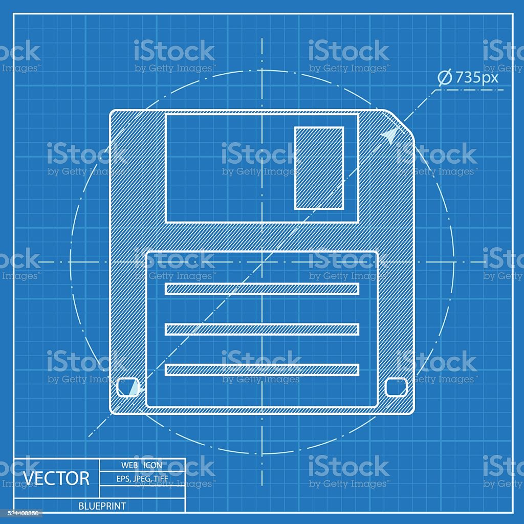 Blueprint Icon Of Hd Diskette stock vector art 524400350 | iStock
