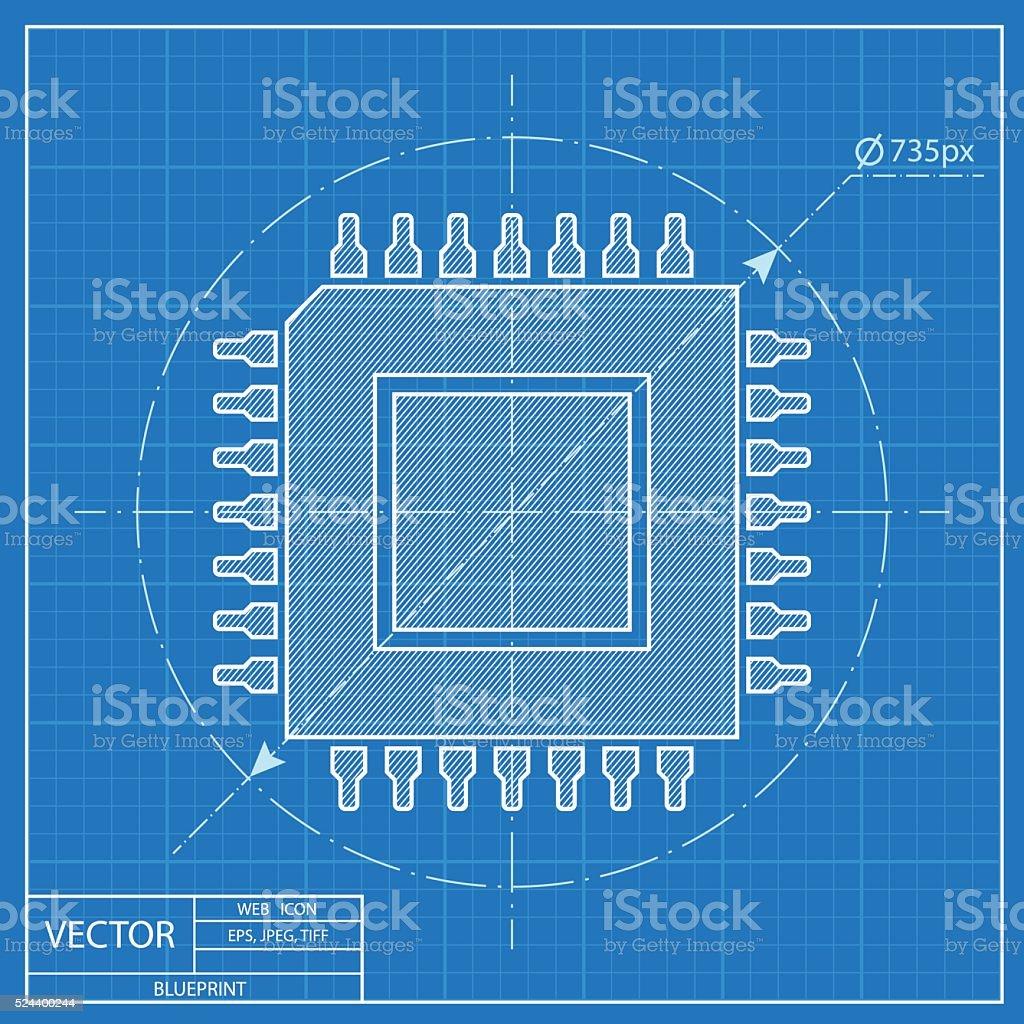 Blueprint icon of microchip stock vector art more images of binary blueprint icon of microchip royalty free blueprint icon of microchip stock vector art amp malvernweather Images