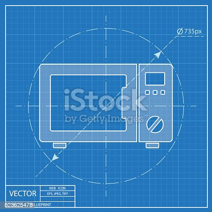 Blueprint icon of microwave oven stock vector art more images of blueprint icon of microwave oven stock vector art more images of appliance 523625478 istock malvernweather Image collections