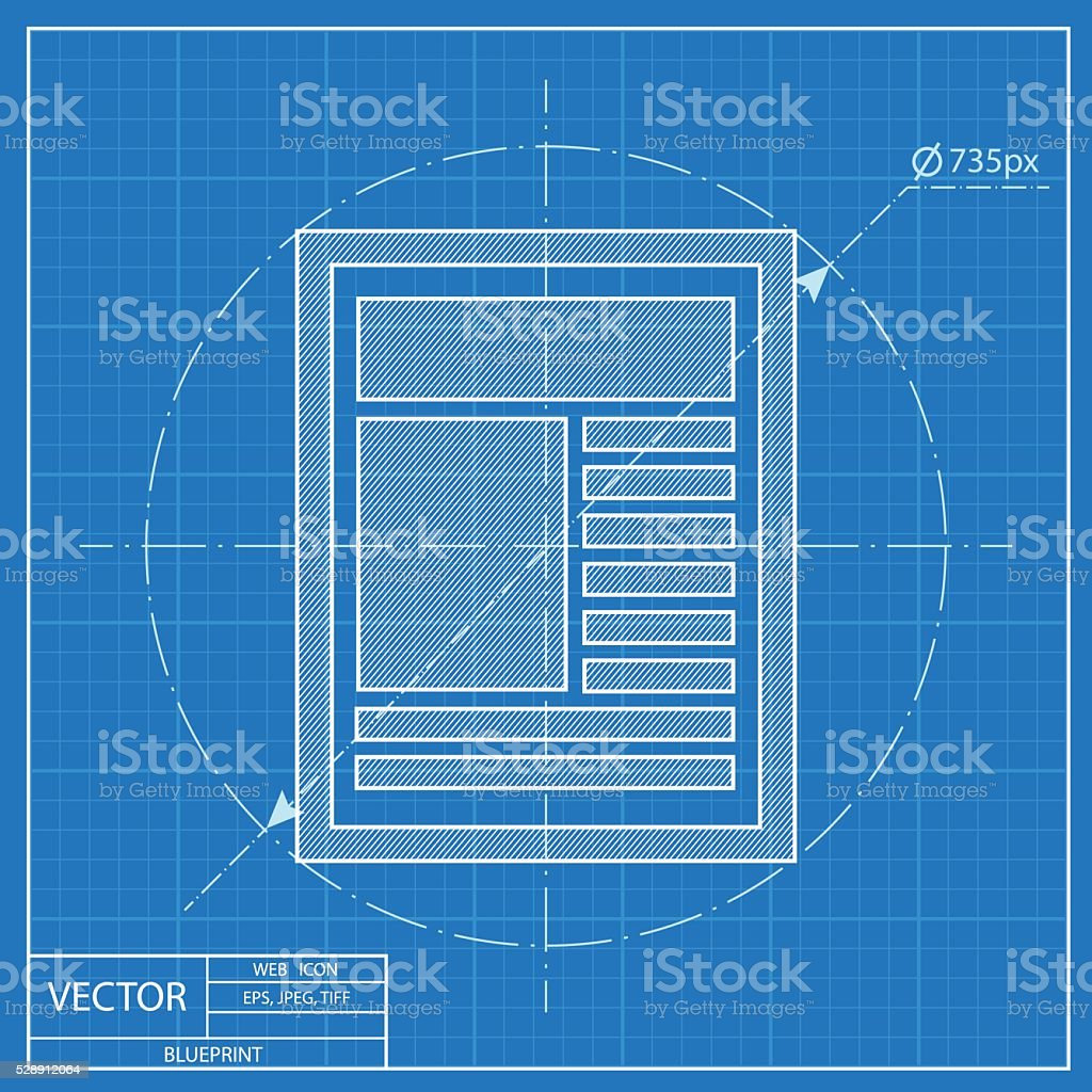 Blueprint icon of newspaper stock vector art more images of blueprint icon of newspaper royalty free blueprint icon of newspaper stock vector art amp malvernweather Images