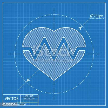 Blueprint icon of pulse stock vector art 524525044 istock malvernweather Choice Image
