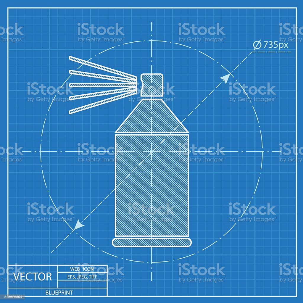Blueprint icon of spray paint stock vector art more images of blueprint icon of spray paint royalty free blueprint icon of spray paint stock vector art malvernweather Image collections