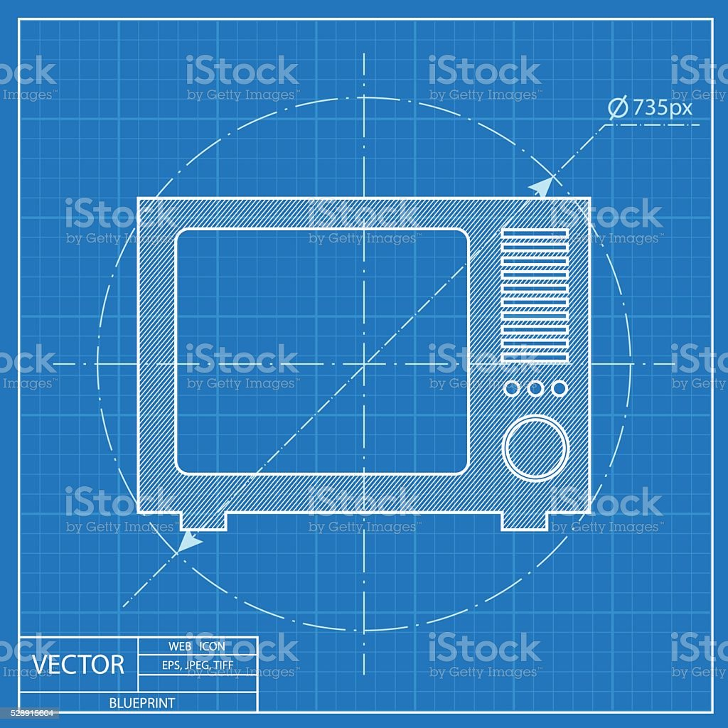 Blueprint icon of tv stock vector art more images of blueprint blueprint icon of tv royalty free blueprint icon of tv stock vector art amp malvernweather Gallery