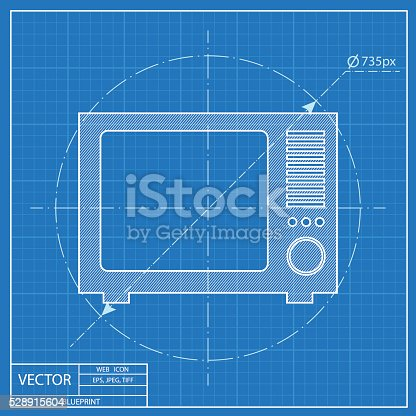 Blueprint icon of tv stock vector art more images of blueprint blueprint icon of tv stock vector art more images of blueprint 528915604 istock malvernweather Choice Image