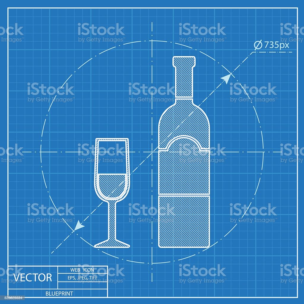 Blueprint icon of wine glass with bottle stock vector art more blueprint icon of wine glass with bottle royalty free blueprint icon of wine glass with malvernweather Choice Image