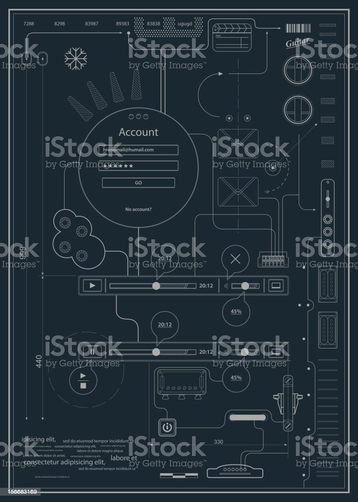 blueprint infographics drawing a schematic abstraction royalty-free stock vector art