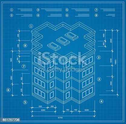 Blueprint isometric plan of a residential building. Drawing of the jotting sketch of the construction and the industrial skeleton of the structure with the plan and dimensions