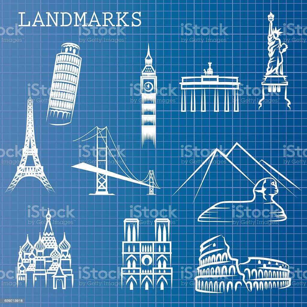 Blueprint landmarks stock vector art more images of arch blueprint landmarks royalty free blueprint landmarks stock vector art amp more images of arch malvernweather Choice Image