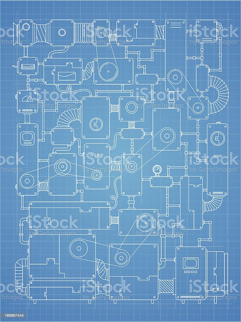 Blueprint machine project vector art illustration