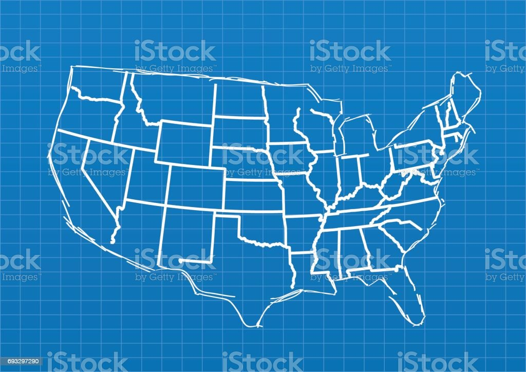 usa blueprint map on blue grid background stock vector art more