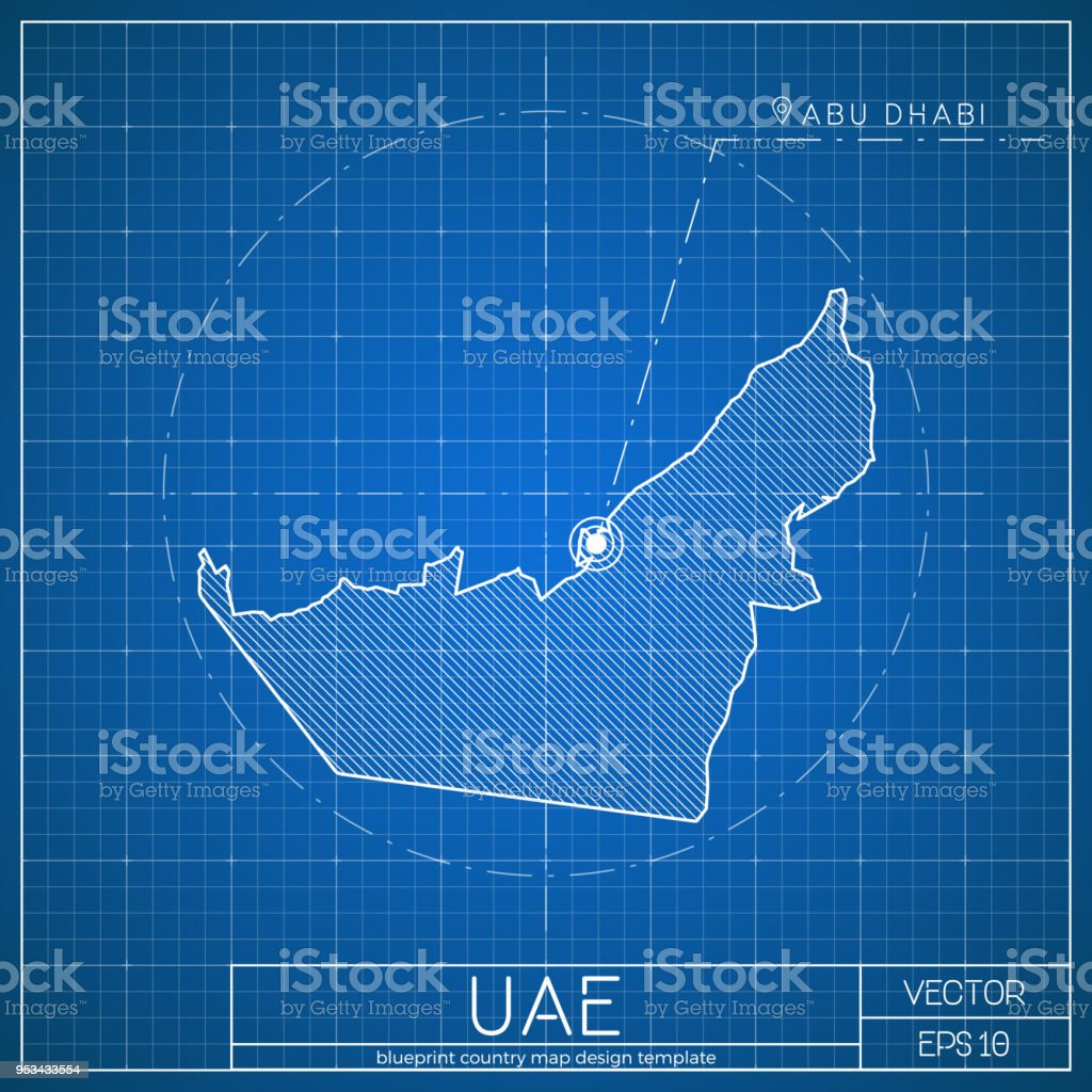 uae blueprint map template with capital city stock vector art more
