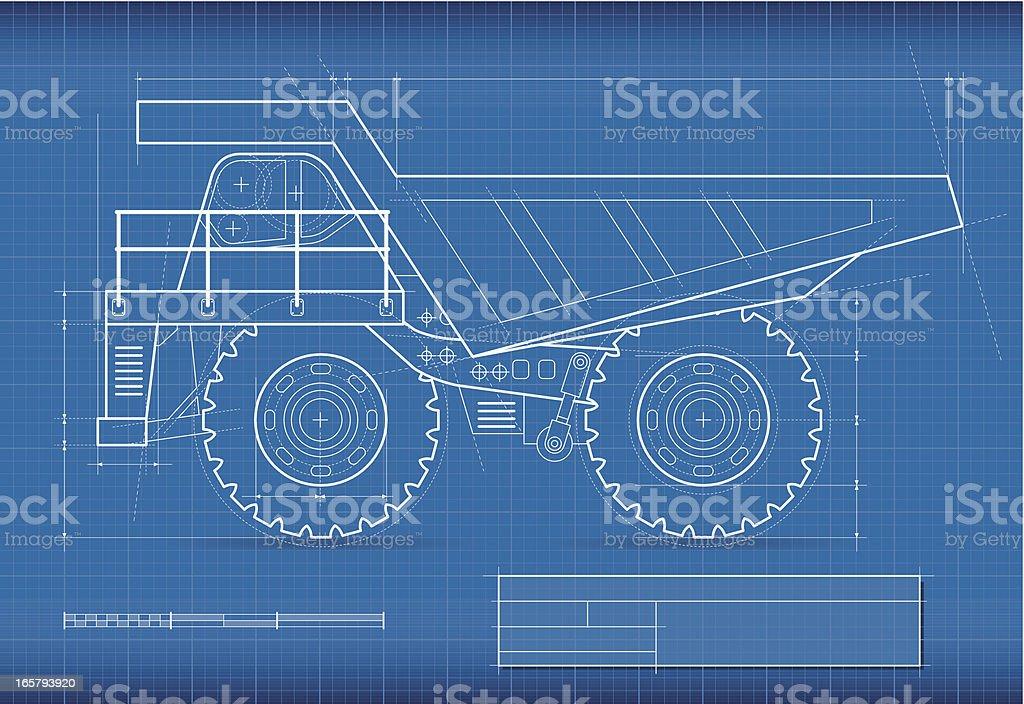 Blueprint, mining truck vector art illustration