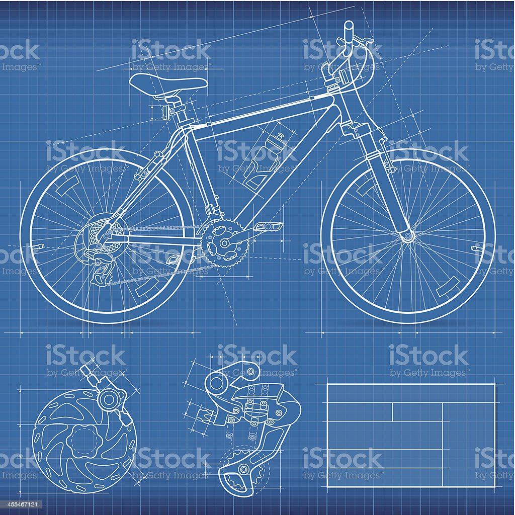 Blueprint mountain bike stock vector art more images of for Where to print blueprints